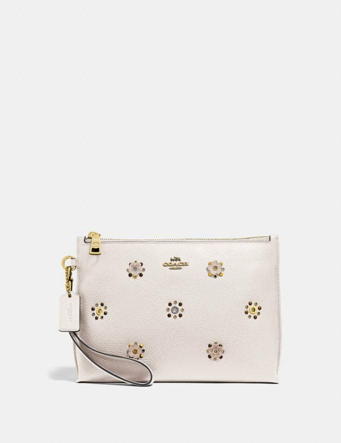 Coach Charlie Pouch With Scattered Rivets Pewter/Mist Women Bags Clutches