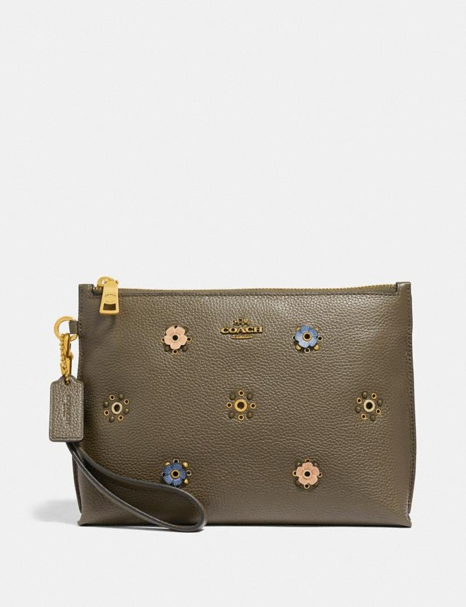 Coach Charlie Pouch With Scattered Rivets Brass/Moss Women Wallets & Wristlets Wristlets