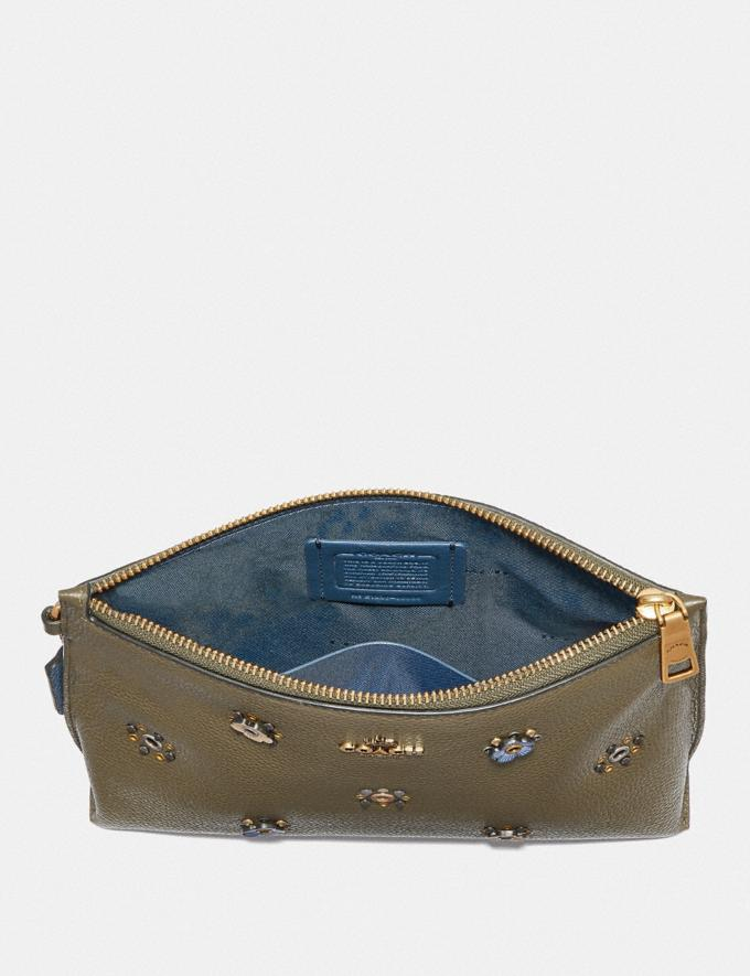 Coach Charlie Pouch With Scattered Rivets Brass/Moss Women Wallets & Wristlets Wristlets Alternate View 1