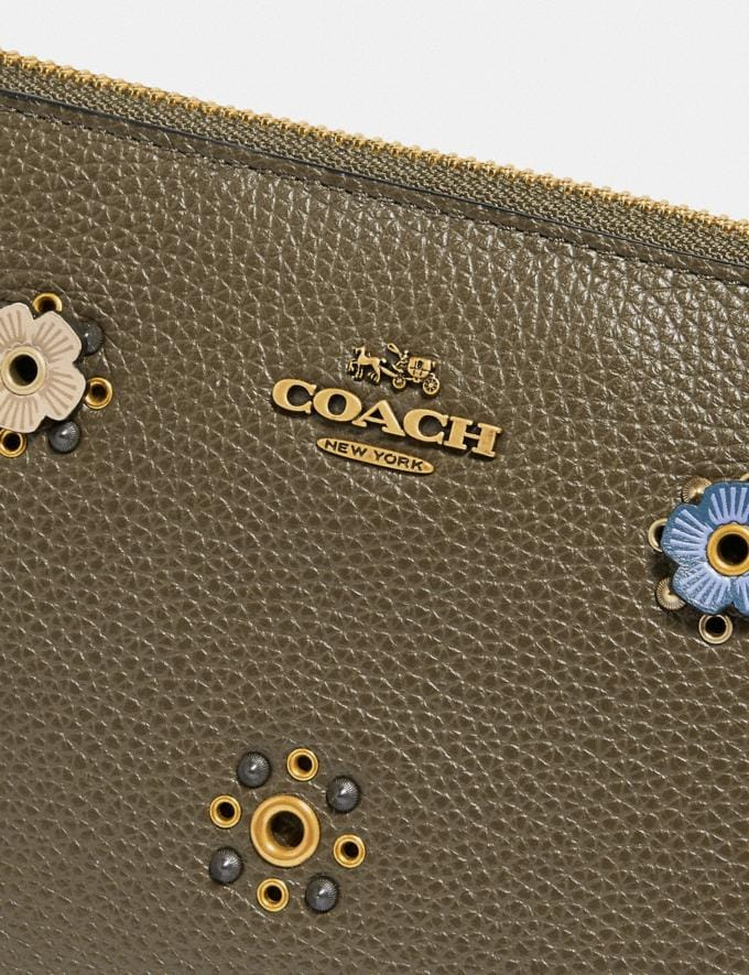 Coach Charlie Pouch With Scattered Rivets Brass/Moss Women Wallets & Wristlets Wristlets Alternate View 3