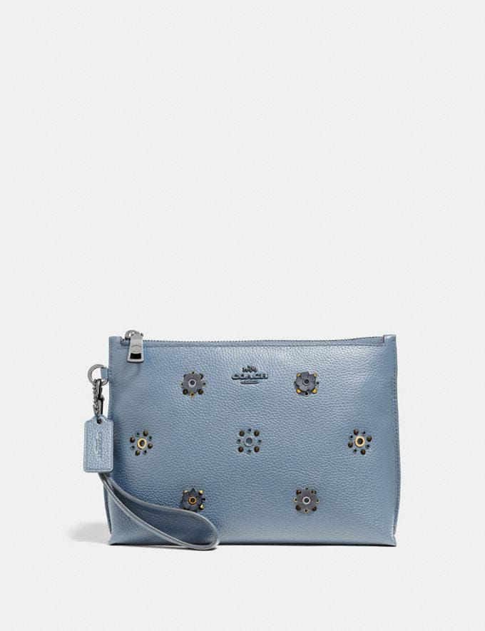 Coach Charlie Pouch With Scattered Rivets Pewter/Mist Women Collection Charlie
