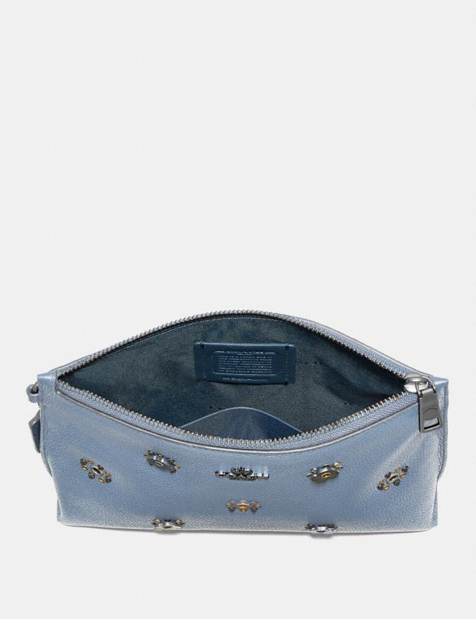 Coach Charlie Pouch With Scattered Rivets Pewter/Mist Women Collection Charlie Alternate View 1