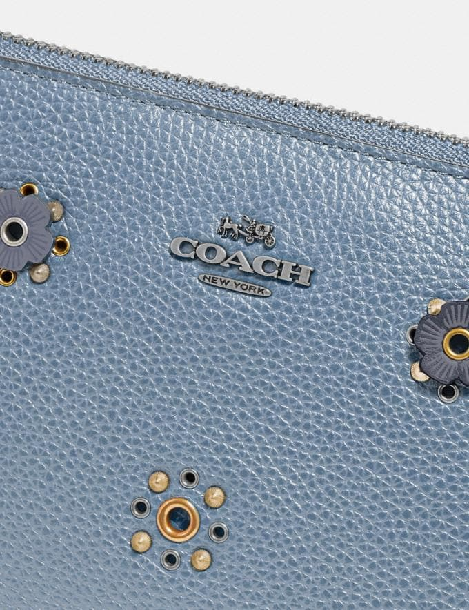 Coach Charlie Pouch With Scattered Rivets Pewter/Mist Women Collection Charlie Alternate View 3