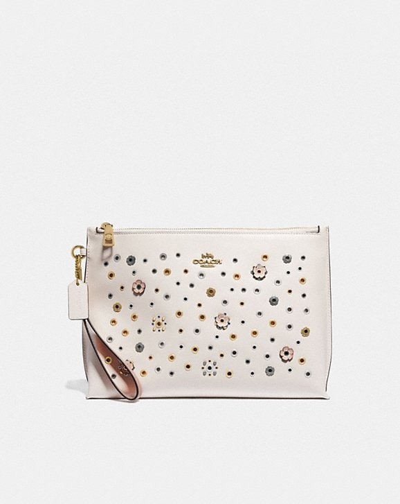 Coach LARGE CHARLIE POUCH WITH SCATTERED RIVETS