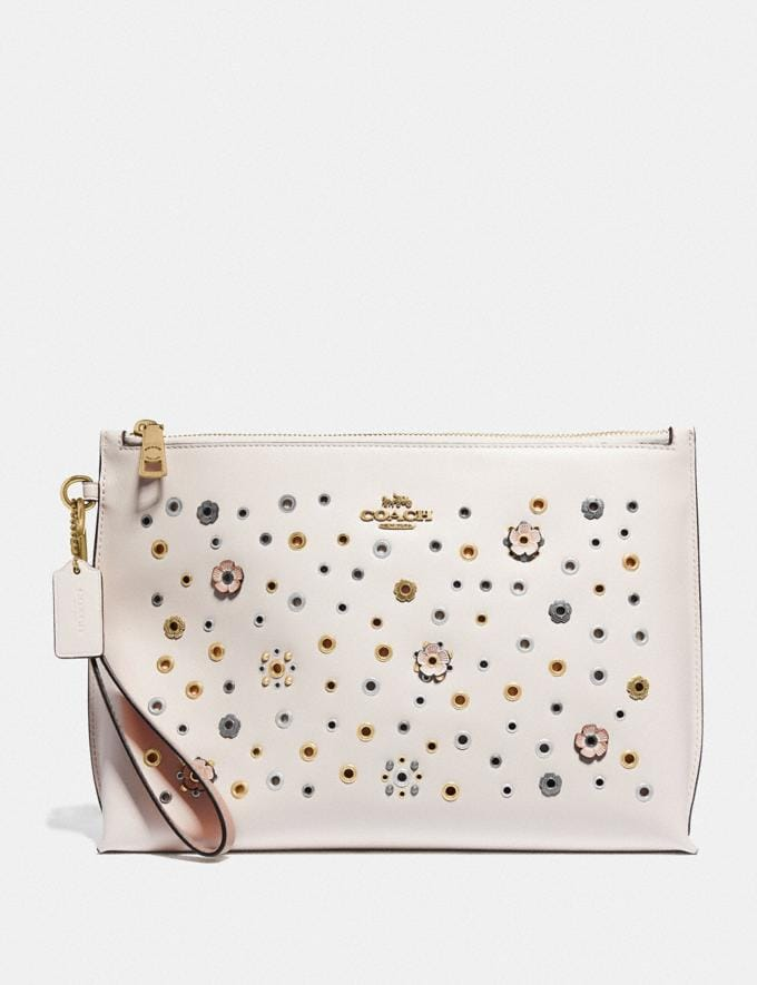 Coach Large Charlie Pouch With Scattered Rivets Brass/Chalk Multi Women Collection Charlie
