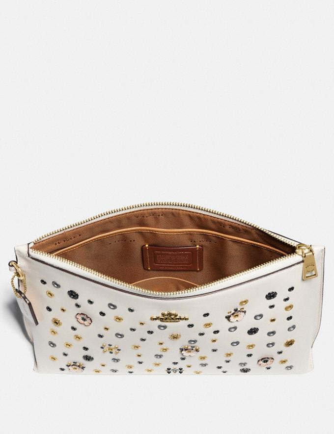 Coach Large Charlie Pouch With Scattered Rivets Brass/Chalk Multi Women Bags Clutches Alternate View 1