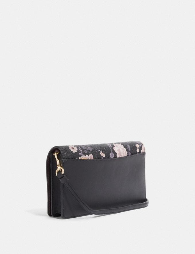 Coach Hayden Foldover Crossbody Clutch With Garden Rose Print Gold/Black Women Accessories Alternate View 1