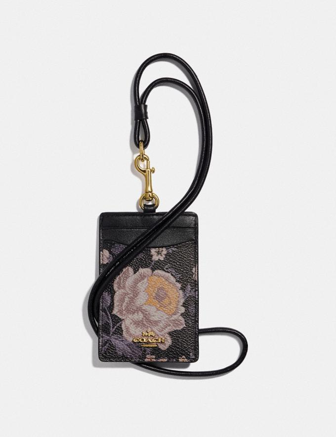 Coach Id Lanyard With Garden Rose Print Gold/Black Women Accessories Tech & Work