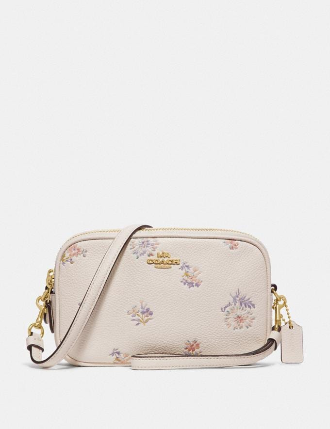 Coach Sadie Crossbody Clutch With Meadow Prairie Print Gold/Chalk Women Bags Crossbody Bags