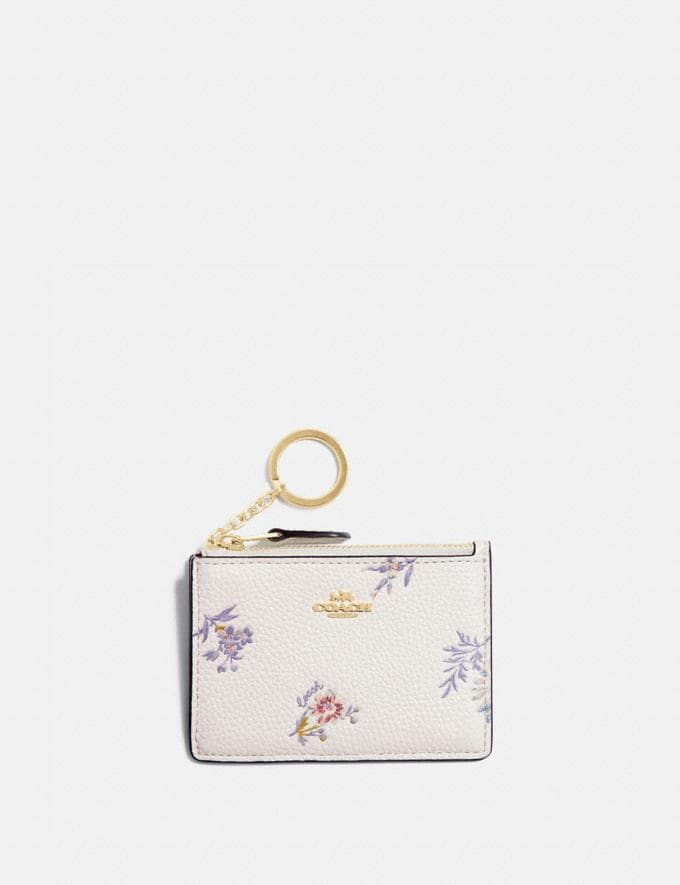 Coach Mini Id Skinny With Meadow Prairie Print Gold/Chalk New Women's New Arrivals Wallets & Wristlets