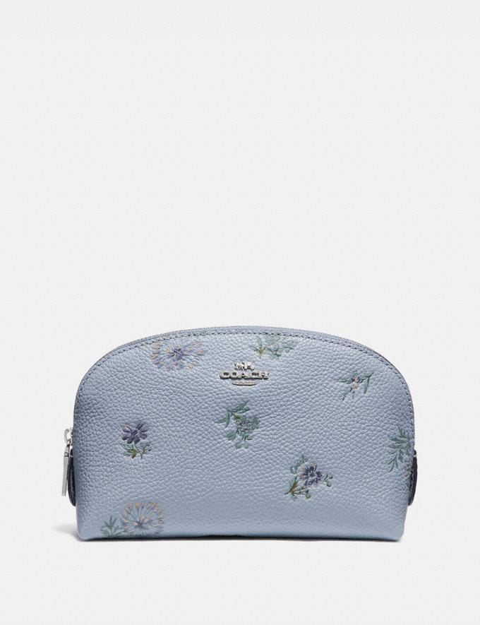 Coach Cosmetic Case 17 With Meadow Prairie Print Blue
