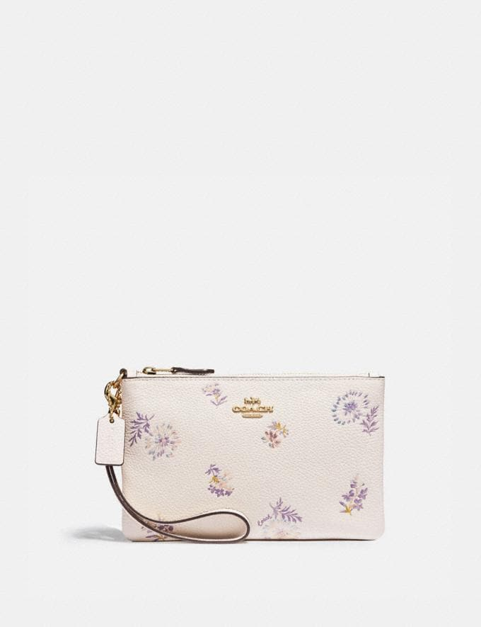 Coach Small Wristlet With Meadow Prairie Print Gold/Chalk