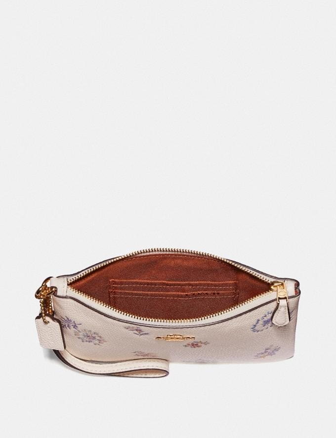 Coach Small Wristlet With Meadow Prairie Print Gold/Chalk  Alternate View 1