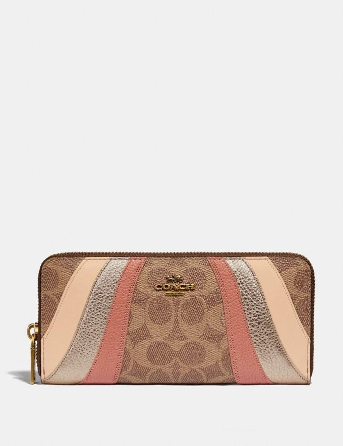 Coach Slim Accordion Zip Wallet in Signature Canvas With Wave Patchwork B4/Tan Multi