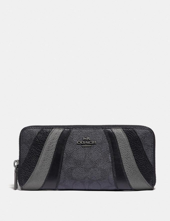 Coach Slim Accordion Zip Wallet in Signature Canvas With Wave Patchwork V5/Charcoal Multi PRIVATE SALE Shop by Price 40% Off