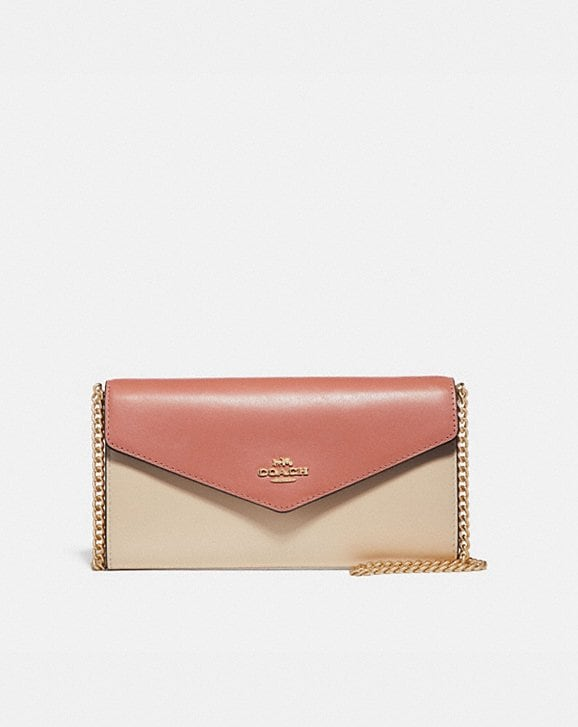 Coach ENVELOPE CHAIN WALLET IN COLORBLOCK
