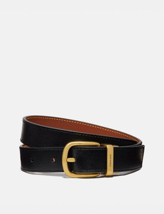 Coach Harness Buckle Reversible Belt, 25mm Black/1941 Saddle/Brass Women Accessories