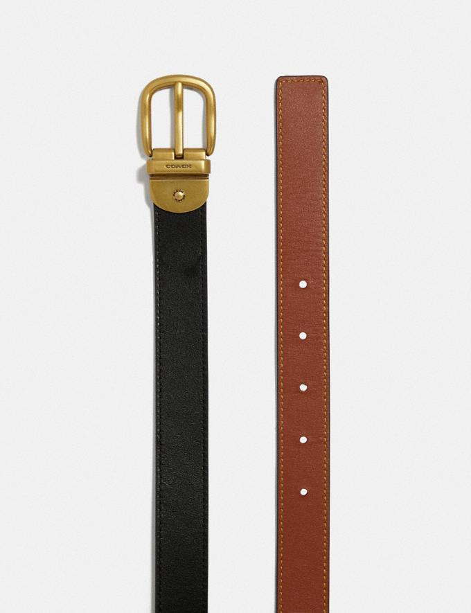 Coach Harness Buckle Reversible Belt, 25mm Black/1941 Saddle/Brass Women Accessories Belts Alternate View 1
