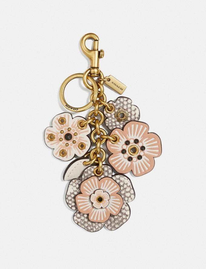 Coach Biker Rivet Tea Rose Mix Bag Charm Brass/Chalk Women Accessories Bag Accessories & Keyholders