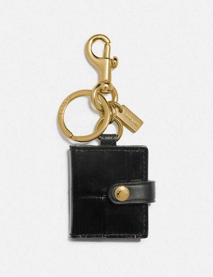 Coach Picture Frame Bag Charm Brass/Black New Men's Trends Denim