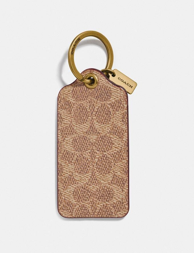 Coach Key Ring in Signature Canvas Brass/Khaki New Men's Trends Denim