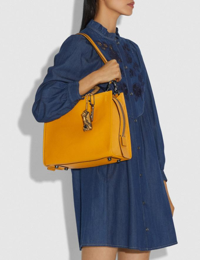 Coach Rogue With Snakeskin Detail Dark Tonal Yellow/Pewter Women Handbags Shoulder Bags & Hobos Alternate View 3