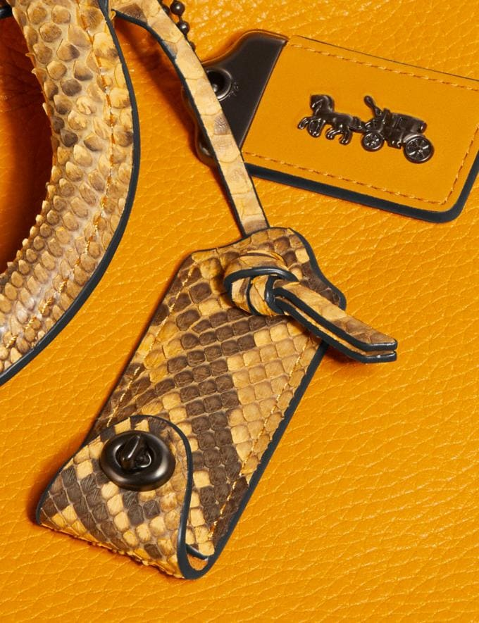 Coach Rogue With Snakeskin Detail Dark Tonal Yellow/Pewter Women Handbags Shoulder Bags & Hobos Alternate View 5