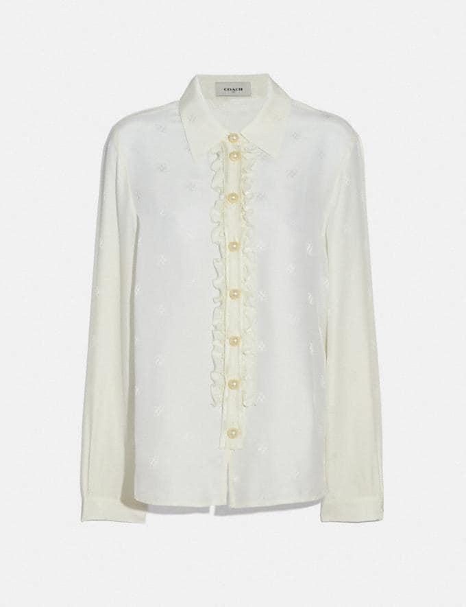 Coach Signature Square Jacquard Shirt Cream Women Ready-to-Wear Tops