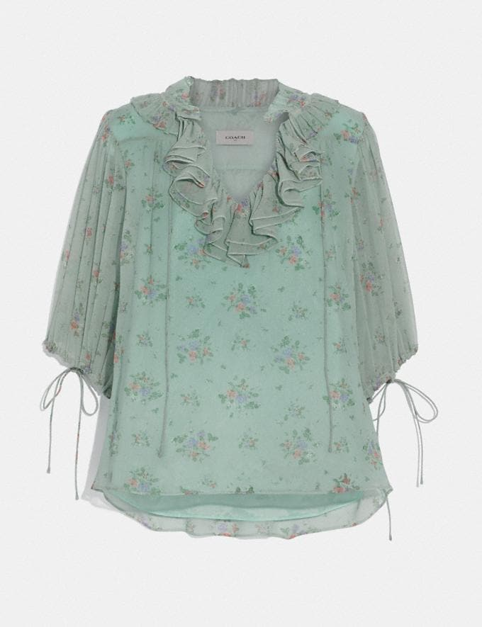 Coach Prairie Bouquet Print Top Green/Yellow Women Ready-to-Wear Tops