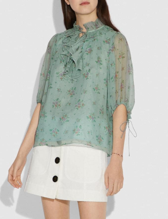Coach Prairie Bouquet Print Top Green/Yellow Women Ready-to-Wear Tops Alternate View 1