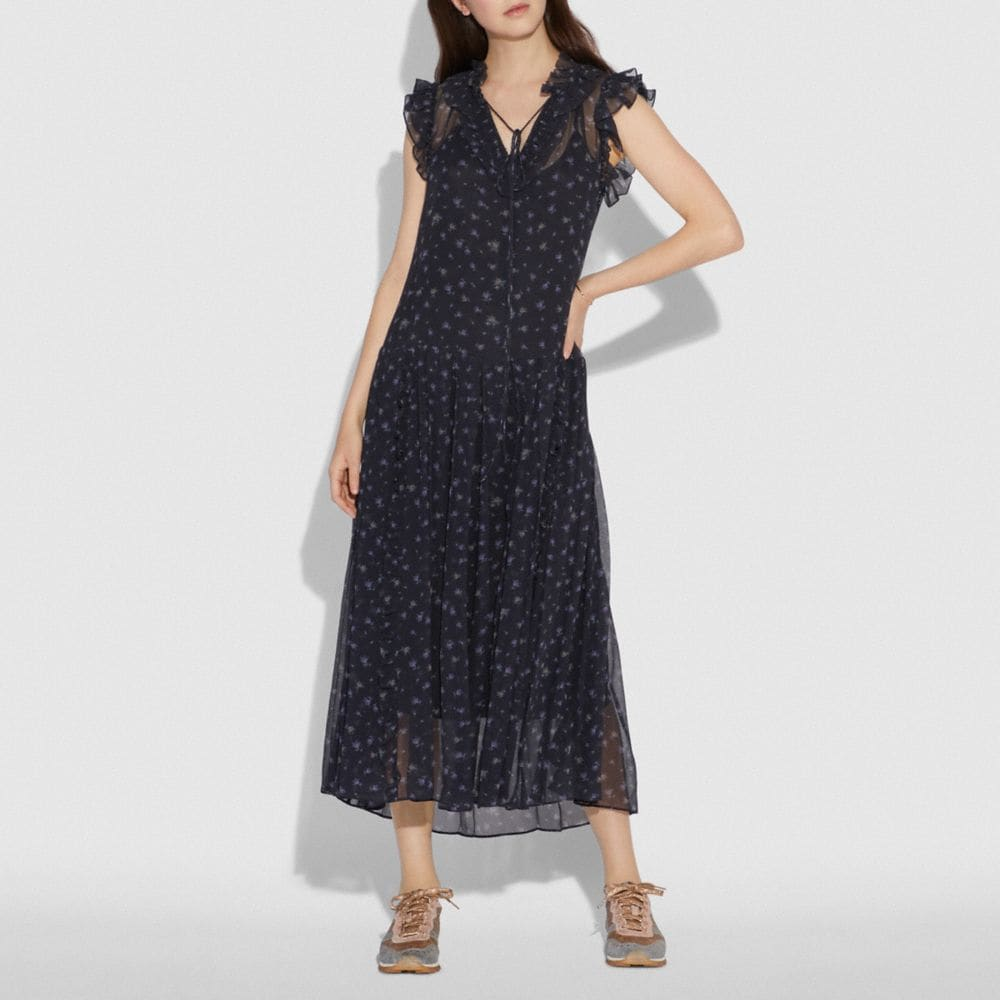 Coach Scattered Rose Print Pleated Dress Alternate View 1