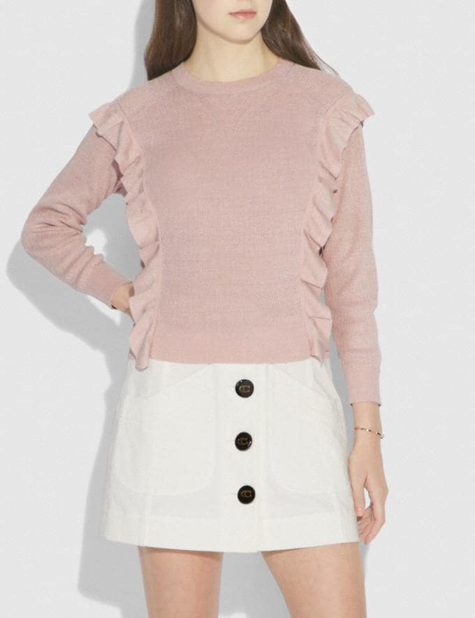 Coach Ruffle Sweater Pink Women Ready-to-Wear Tops Alternate View 1