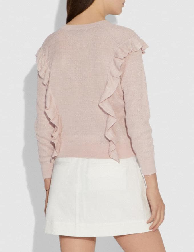 Coach Ruffle Sweater Pink Women Ready-to-Wear Tops Alternate View 2