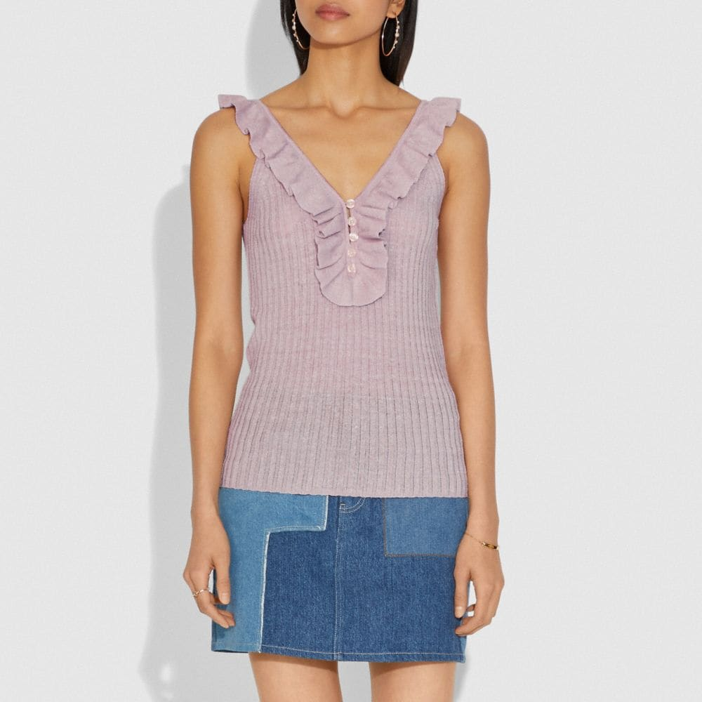 Coach Ruffle Tank Sweater Alternate View 1