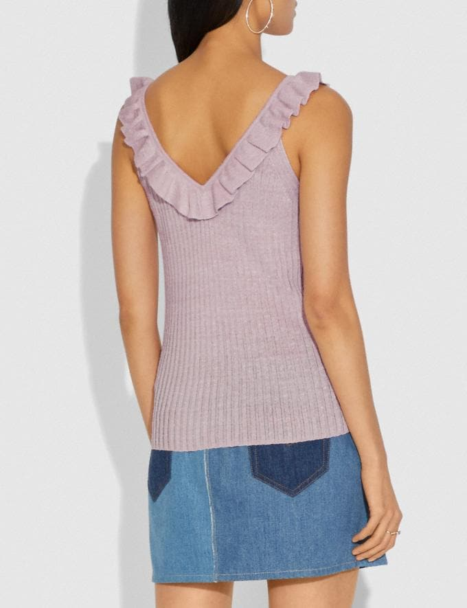 Coach Ruffle Tank Sweater Pink SALE Women's Sale Ready-to-Wear Alternate View 2