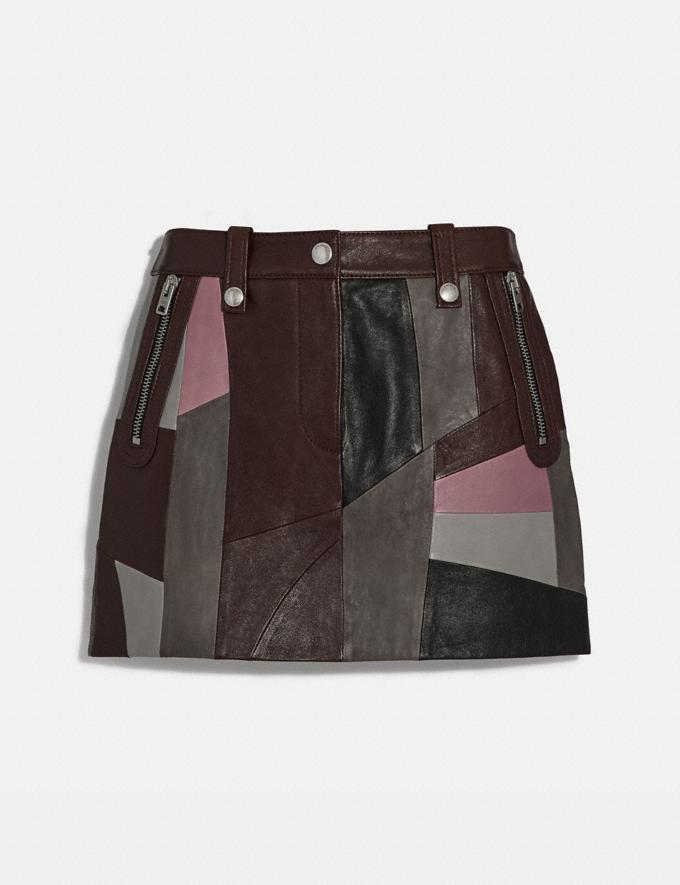 Coach Leather Patchwork Mini Skirt Pink Multi