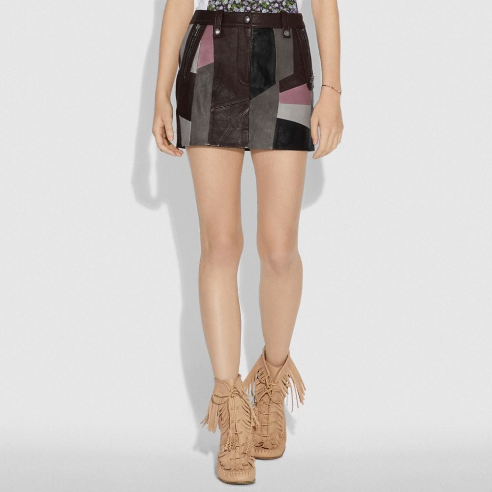 Coach LEATHER PATCHWORK MINI SKIRT Alternate View 1