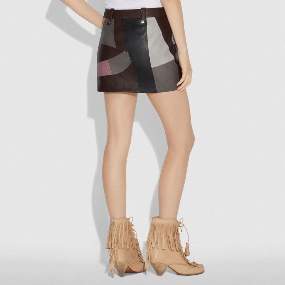 Coach LEATHER PATCHWORK MINI SKIRT Alternate View 2