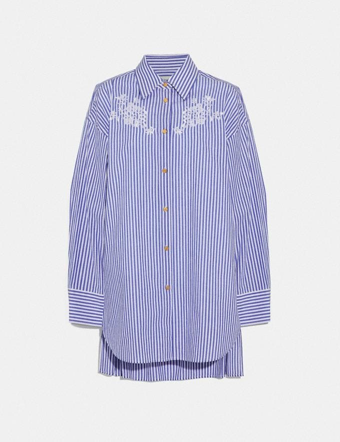 Coach Embroidered Long Shirt Blue/White Women Ready-to-Wear Tops