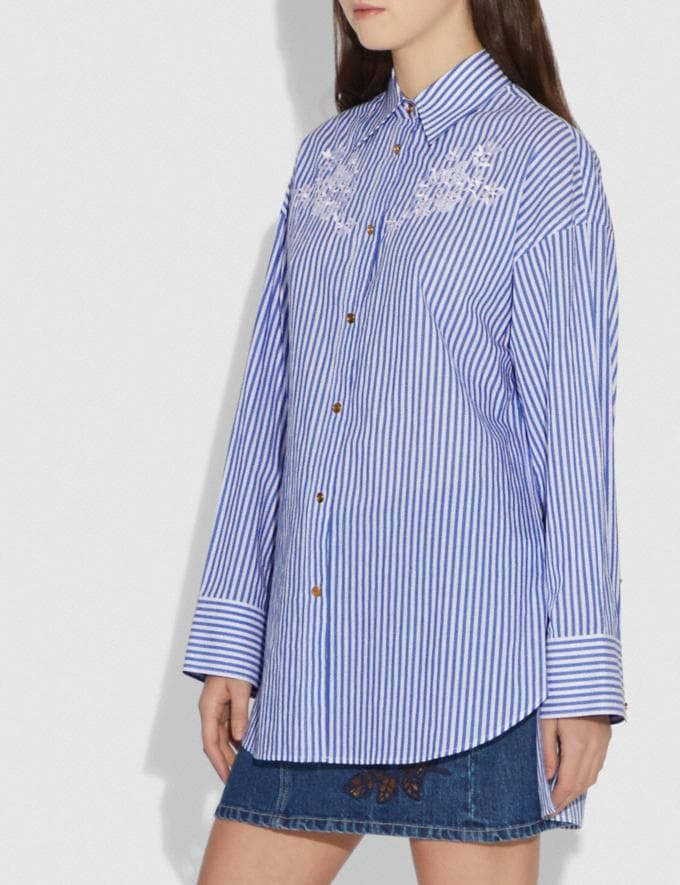 Coach Embroidered Long Shirt Blue/White Women Ready-to-Wear Tops Alternate View 1