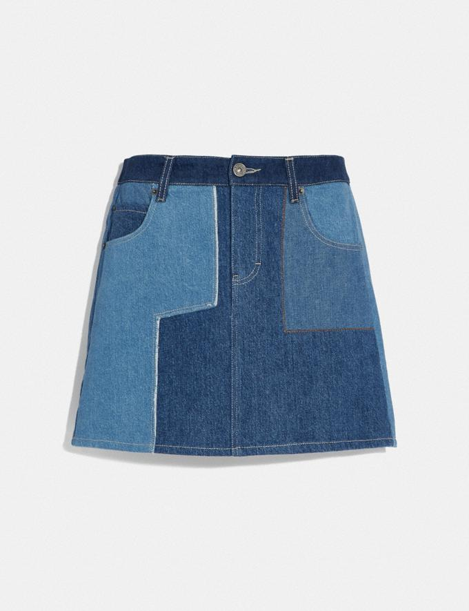 Coach Denim Patchwork Skirt Blue VIP SALE Women's Sale Ready-to-Wear