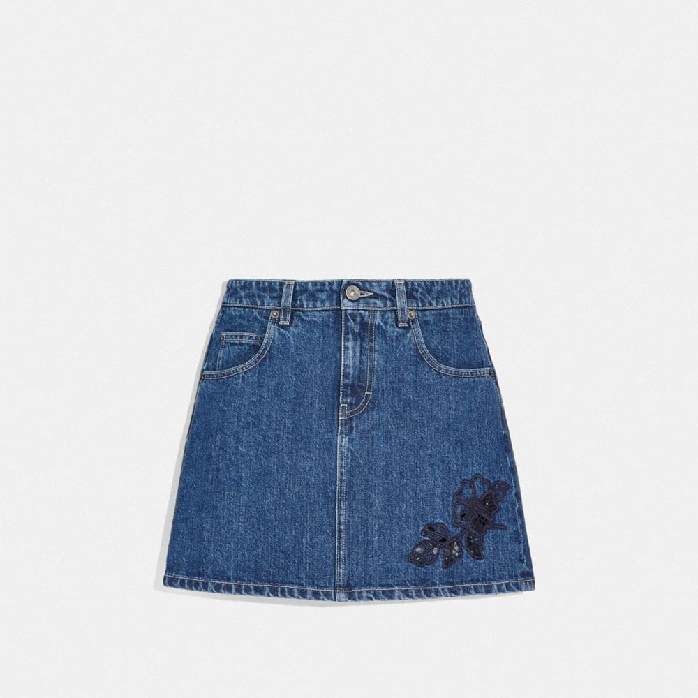 Coach Embroidered Denim Skirt