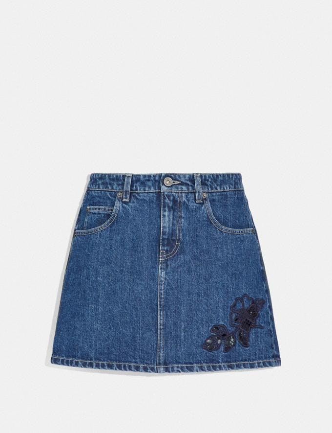 Coach Embroidered Denim Skirt Shady Blue
