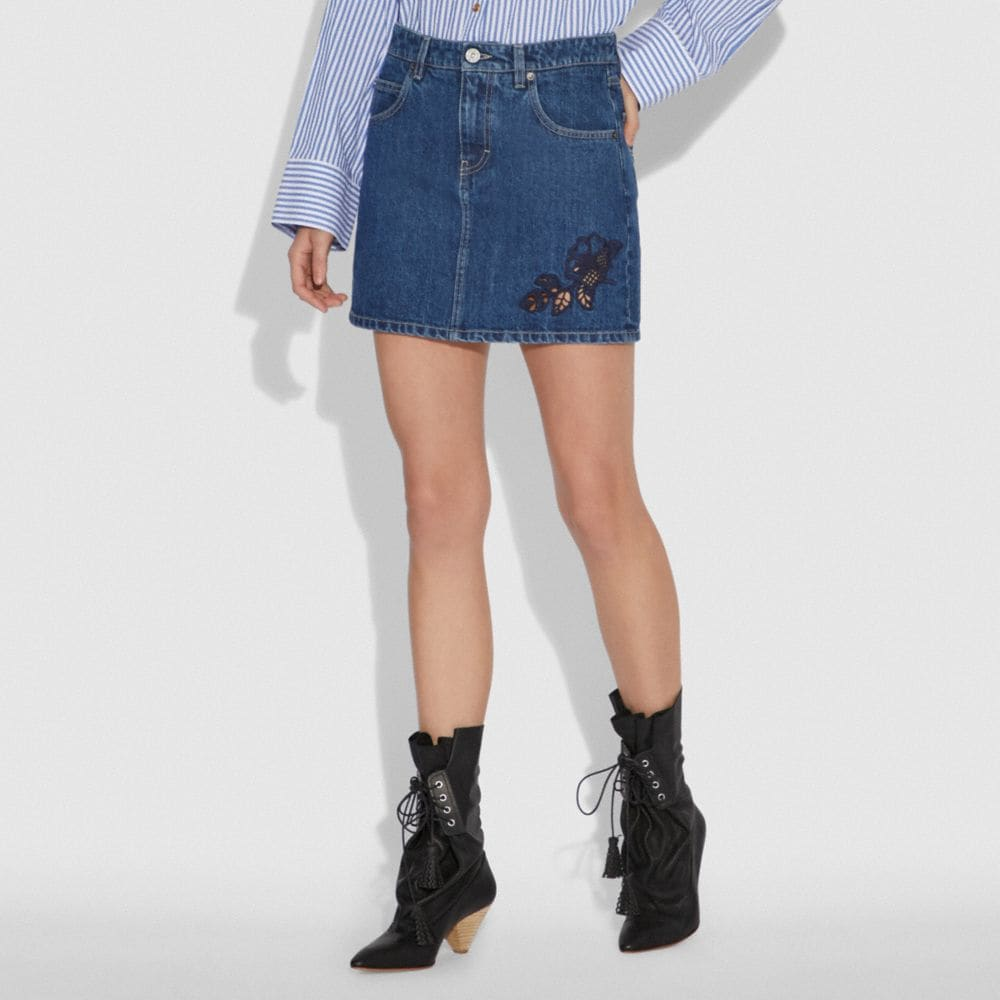 Coach Embroidered Denim Skirt Alternate View 1