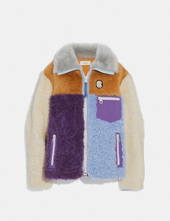 Coach Shearling Jacket Multi New Featured Retro Graphic