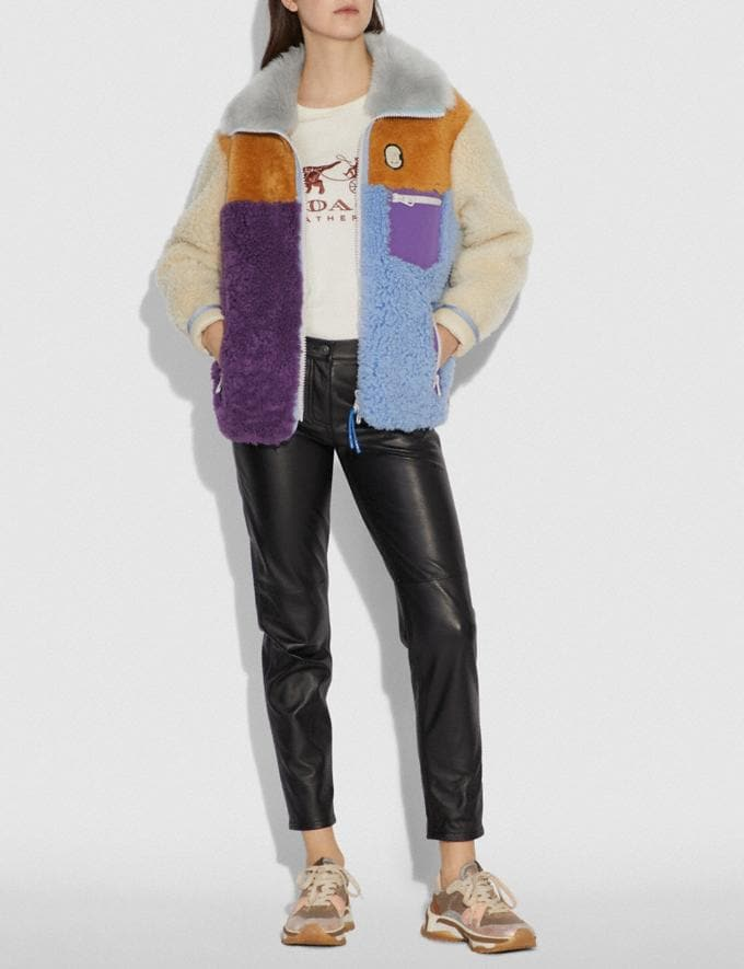 Coach Shearling Jacket Multi New Featured Retro Graphic Alternate View 1