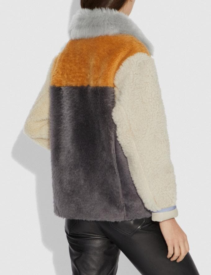 Coach Shearling Jacket Multi New Featured Retro Graphic Alternate View 2