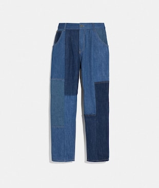 PANTALONI A PIEGHE IN DENIM CON PATCHWORK