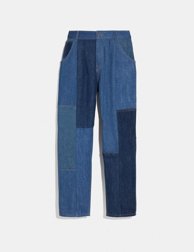 Coach Denim Patchwork Pleated Trousers Blue Women Ready-to-Wear Bottoms