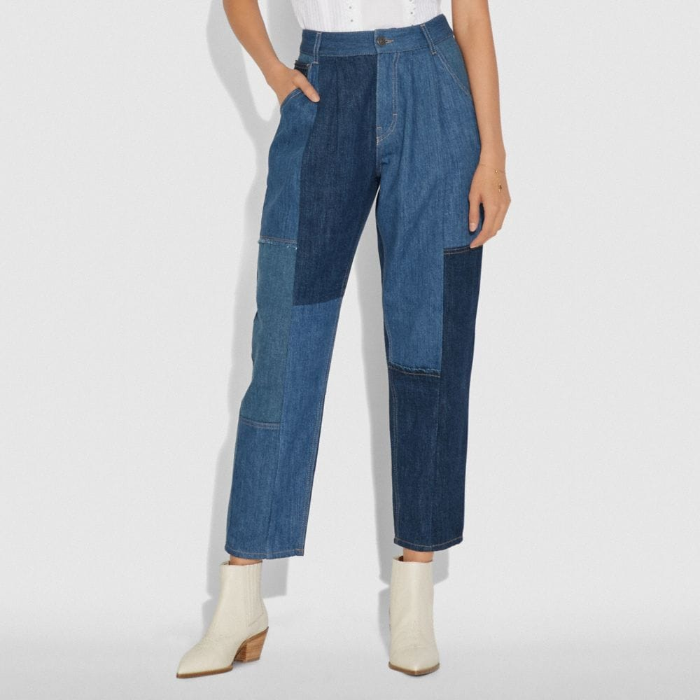 Coach Denim Patchwork Pleated Trousers Alternate View 1